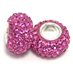 Pro Jewelry (Set of 2)925 Sterling Silver Birthstone October Rose / Pink Crystal Bead