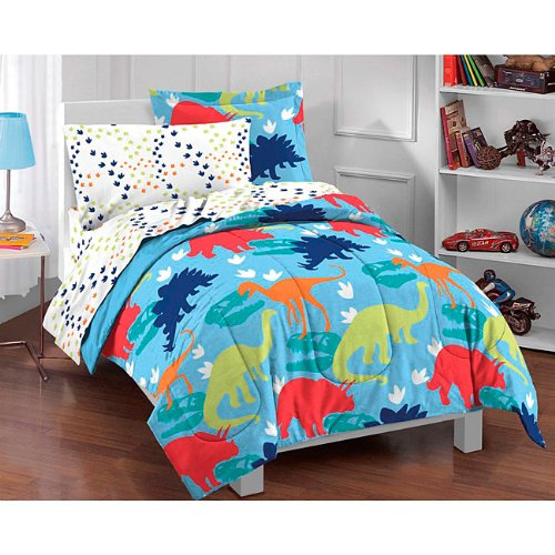 Dinosaur Tracks Bedding Set - 5pc Dino T-Rex Bed-in-Bag Ensemble - Twin Bed