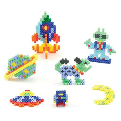 PERLER-Fun Fusion Fuse Bead Activity Kit: Space Aliens. This kit has easy to follow color patterns and allows your child to make seven cosmic projects. This package contains 1000 beads; one pegboard; ironing paper and ironing instructions. Ages 6 and...