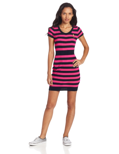 U.S. Polo Assn. Juniors Striped Sweater Dress, Berry Bug, Medium