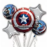 Captain America Balloon Birthday Party Favor Supplies 5ct Foil Balloon Bouquet