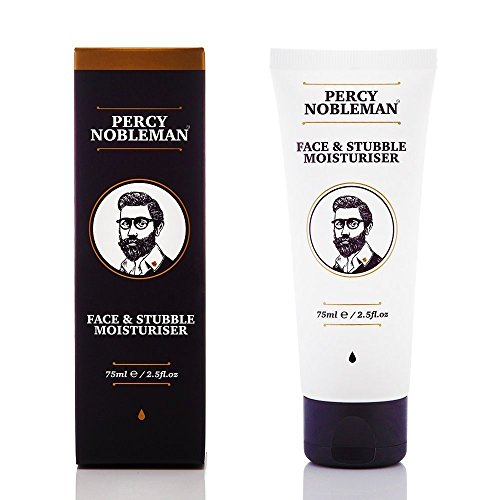 Face and Stubble Moisturizer by Percy Nobleman 75ml / 2.5fl.oz. A Moisturizing Facial Treatment Cream for Men. 98% Naturally Derived and Scented with Peppermint & Cucumber.