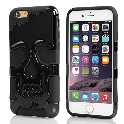 iPhone 6 Plus Case, Pasonomi® 3D Skull Style Dual Layer PC with Silicone Back Case Cover for iPhone 6 Plus 5.5 inch (Black)