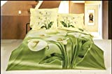 Ttmall Full/queen Size 100% Cotton 3d Common Calla Green Lemon Yellow Flowers Floral for Girls Prints Bedding Comforters Sets Sheet Pillowcases Sets Bedding Duvets Covers Sets Home Decor Bedding Collections Bed in a Bag (Full/Queen, 4pcs without comforter