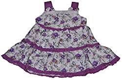 Be BeBo Girl's cotton Regular Fit Dress (540, Violet, 18-24 months)