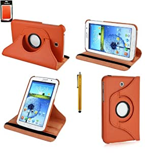 Emartbuy® Gold Stylus + Orange Smart PU Leather 360 Degree Rotating Multi Angle Wallet Case Cover Folio for Samsung Galaxy Tab 4 7.0 7 Inch Tablet T230 T231 T235