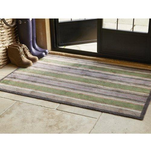 """Gestreifte Fußmatte """"Frühling"""", extragroß von Turtle, reine Baumwolle, Antirutsch-Grund aus Gummi, 118 x 75 cm"""