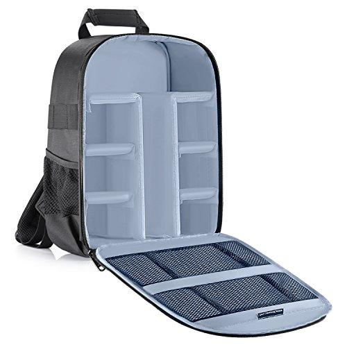 Neewer® Zaino Backpack Imbottito Flessibile con Divisorio Anti-urto Separatore Protettivo per Fotocamere SLR DSLR Mirrorless e Obiettivi, Flash, Radio Trigger e Altri Accessori (Grigio all'Interno)