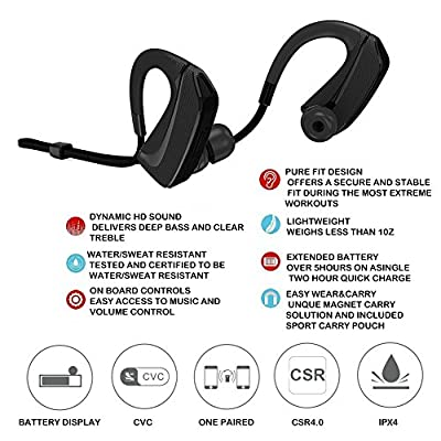 FIIL Wireless Bluetooth Headphones,Stereo Sport Water-Resistant Sweatproof Earphone,Hook Designed Secure Fit for Running Gym Exercise Headsets