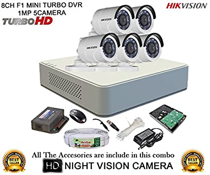 Hikvision-DS-7108HGHI-F1-Mini-8CH-Dvr,-5(DS-2CE16C2T-IR)-Bullet-Camera-(With-Mouse,-Remote,-1TB-HDD,-Bnc&Dc-Connectors,-Power-Supply,Cable-)