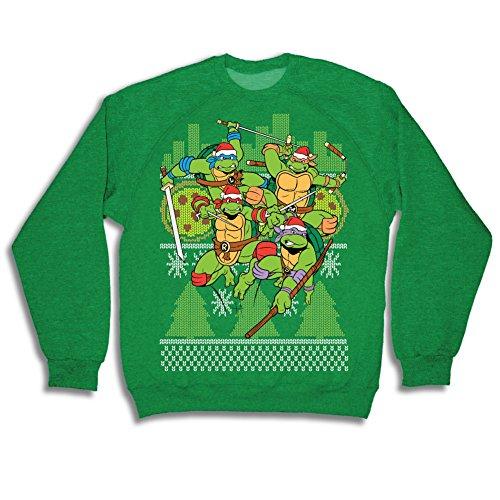 Teenage Mutant Ninja Turtles Fight Stance Green Ugly Christmas Sweatshirt (Adult X-Large) (Ninja Turtles Sweater Mens compare prices)