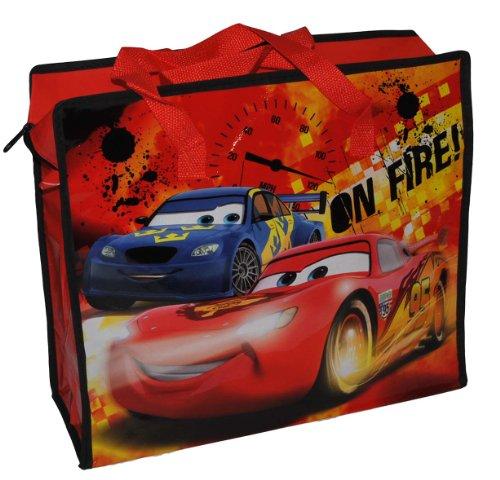 Shopper / Tragetasche / Umhängetasche mit Disney Cars Lightning McQueen - Kindertasche Tasche Stoff Jungen Tragetasche Beutel Einkaufstasche - beschichtet und abwischbar - Strandtasche Reisetasche