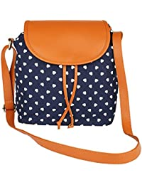 Lychee Bags Girl's Canvas With PU Flap Emma Sling Bag (Dimension (lxwxh): 30x9x27 Cm)