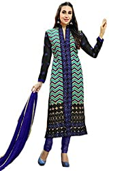 Blue Embroidered Georgette Straight Suit Semi Stitched Max-42