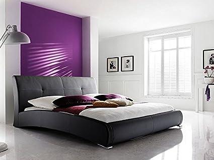 Polsterbett schwarz Bett 180x200 Kunstleder Bettgestell Kunstlederbett Amadeo