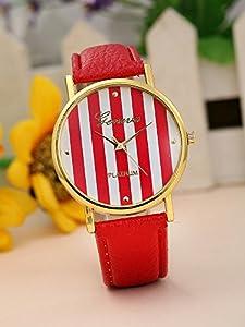 Geneva Platinum 12973212 Women's Faux Leather Stripe Watch-HOT PINK/WHITE
