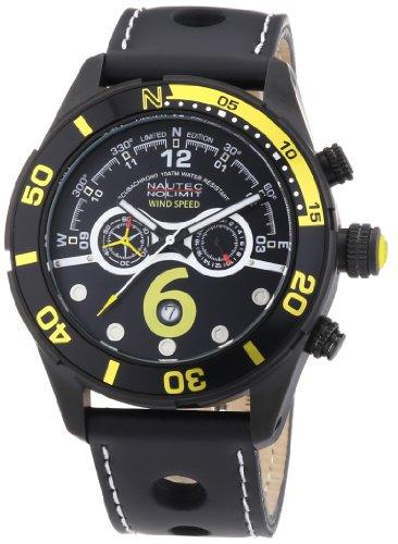 Nautec No Limit Silverstone SV QZ/LTIPBK - Reloj cronógrafo de cuarzo para hombre, correa de cuero color negro (cronómetro)