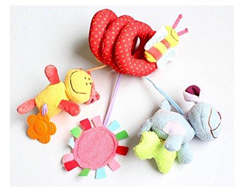 Linkings-Kinderwagenkette-Hngende-Babyspielzeug-bunt-Plsch-spiral-spielzeug-fr-Kinderbette-und-Kinderwagen-Hund-Biene-und-Blume-Form