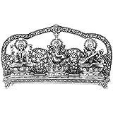 EtsiBitsi White Metal Laxmi Ganesh Saraswati Figur, Laxmi Ganesh, Pooja Article, Diwali Gift, Laxmi Ganesh Saraswati...