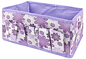 Coromose Newest Makeup Cosmetic Storage Box Bag Bright Organiser Foldable Makeup Stationary Container (Purple)