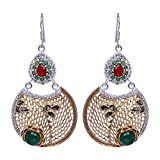 Gehna Emerald & Garnet Gemstone Studded Earrings