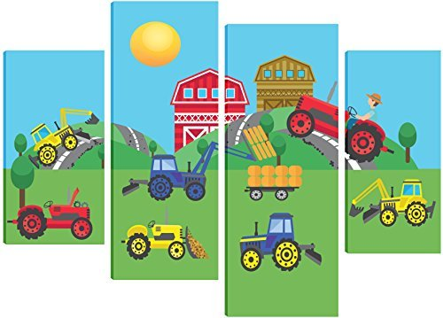 a-busy-day-at-the-farm-with-all-the-tractors-working-hard-canvas-art-for-children-4-split-panel-desi