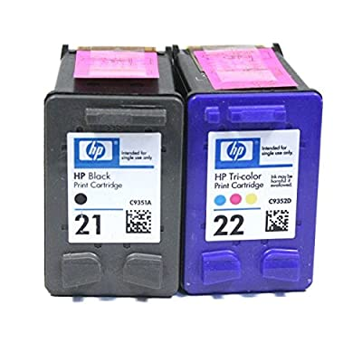 2 Pack HP 21 Black and HP 22 Color Ink Cartridges Without Factory Packaging for Deskjet 3940 F2210 F335 F340 F380 D1430 D1530 D2430 Officejet 4315 J3680 PSC 1410 FAX 1250