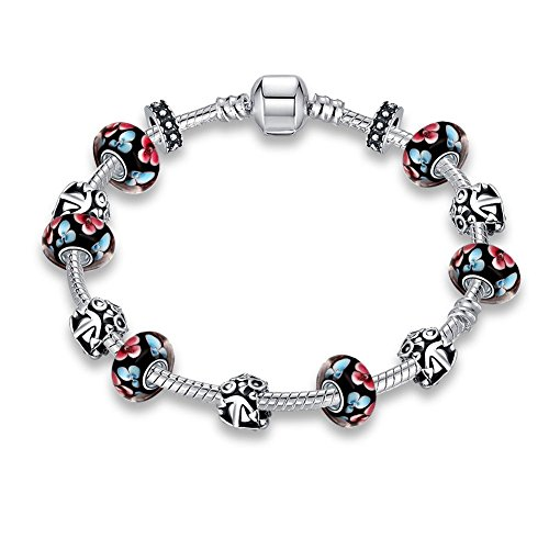 Gorgeous Jewelry Silver Plated Vintage Flower Black Glass Beaded Diy Pandora Crystal Bracelet (Samsung Oven Knob compare prices)