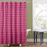 Lush Decor Emma Shower Curtain, 72 by 72-Inch, Pink