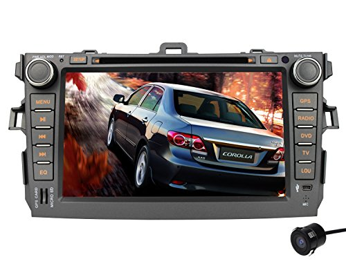 Volsmart Android 5.1 Quad Core Car DVD GPS for Toyota Corolla 2007-2011 with 1024x600 Capacitive Touch Screen Free Rear View Camera support Bluetooth Phone Call Stereo Radio Player OBD2 ScreenMirror