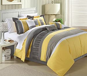 Chic Home 8-Piece Embroidery Comforter Set, Queen, Euphoria Yellow