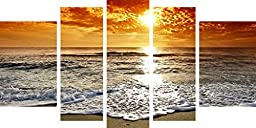 Startonight Canvas Wall Art Sunset and Waves, Beach USA Design for Home Decor, Dual View Surprise Artwork Modern Framed Ready to Hang Wall Art Set of 5 Total 35.43 X 70.87 Inch Original Art Painting!