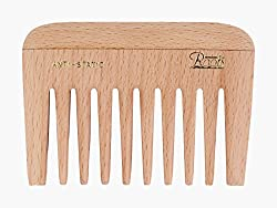 Roots Hair Combs - Wooden Wide Teeth Travel Comb for Wavy/ Curly Hair