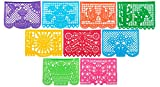 "Paper Full of Wishes ""Festival Mexicano Large Plastic Papel Picado Banner, 9 Multi-Colored Panels 15 feet Long"