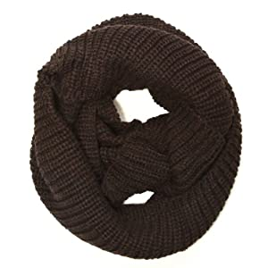 Wrapables Thick Knitted Winter Warm Infinity Wool Scarf - Coffee