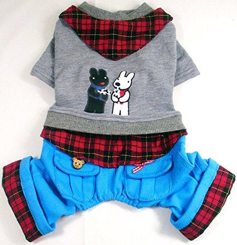 Pet Cat Dog Gray Plaid Trim Jumpsuit Blue Pants Outfits Bandana Small Boy Dog Clothes M