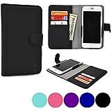 Cooper Cases(TM) Slider Jolla Jolla Wallet Case in Black (Rear-Camera Access; Credit Card Slots, Slip Pocket; Magnetic Cover Lock)