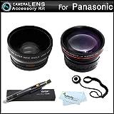 52mm Wide Angle Telephoto Lens Kit For Panasonic Lumix DMC-FZ150K DMC-FZ150 DMC-G5 DMC-G5K DMC-GH3 Digital Camera Includes HD .45x Wide Angle Lens + 2.2x Telephoto Lens + Lens Pen Cleaning Kit + Lens Cap Keeper + MicroFiber Cloth