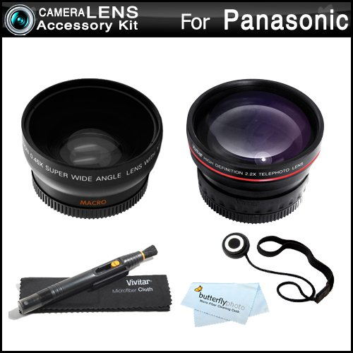 52Mm Wide Angle Telephoto Lens Kit For Panasonic Lumix Dmc-Fz150K Dmc-Fz150 Dmc-G5 Dmc-G5K Dmc-Gh3 Digital Camera Includes Hd .45X Wide Angle Lens + 2.2X Telephoto Lens + Lens Pen Cleaning Kit + Lens Cap Keeper + Microfiber Cloth