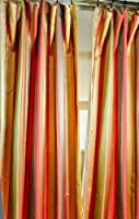 Bright multi toned stripes satin faux silk curtain