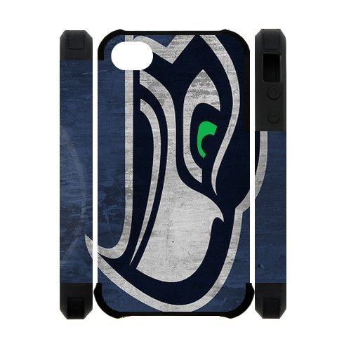 Designed Custom Dual-Protective Polymer iPhone 4/4s Hard Cases Cover Seahawks team logo at Amazon.com