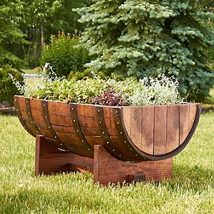 Amazon.com - Reclaimed Half-Barrel Planter -