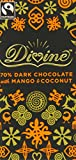 Divine Fairtrade Mango and Coconut 70 Percent Dark Chocolate Bar 100 g (Pack of 5)