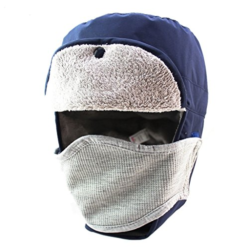 Home Prefer Winter Outdoor Waterproof Double Layer Face Cover Cap Warm Ear Flap Trapper Hat Navy Blue
