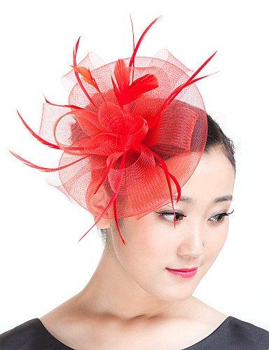 ZY/Lady piuma Mesh Fiori Fascinator Cappello Derby Cappello Rosso/Beige/Nero, Red
