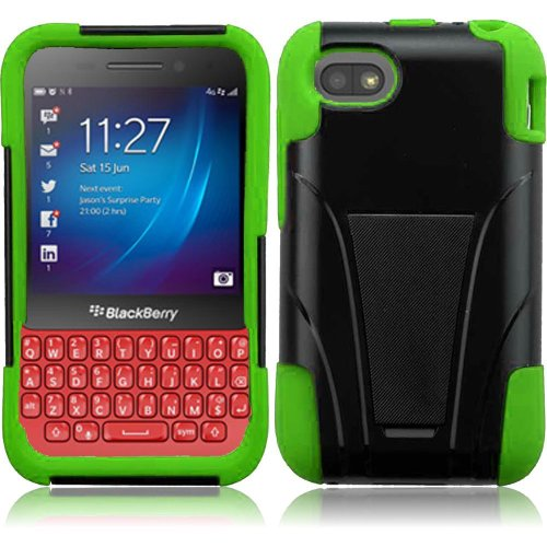 Cell Accessories For Less (Tm) For Blackberry Q5 T-Stand Cover Case - Black+Neon Green - By Thetargetbuys *Free Shipping*