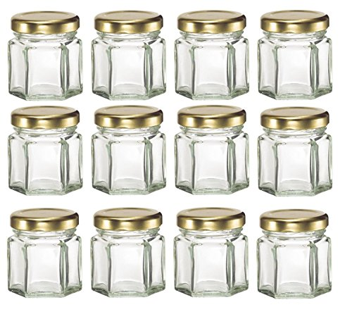 Фото ChefLand 12 Piece, 1.5 Oz Mini Hexagon Glass Jars for Jam, Honey, Wedding Favors, Shower Favors, Baby Foods, DIY Magnetic Spice Jars
