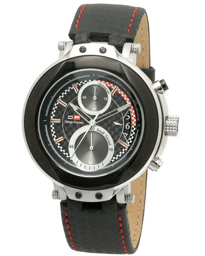DFactory Men's DFU011YRN Black Label Black Dial Leather Chronograph Watch