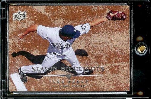 2008 Upper Deck # 390 Jake Peavy Hl Padres Season Highlight Mlb Baseball Trading Card In A Protective Screwdown Display Case