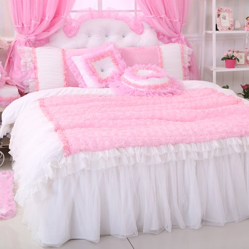 Fadfay Home Textile,Korean Bedding Sets,Romantic Pink Rose Bedding Set,Princess Lace Ruffled Bedding Set front-748743